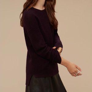 Aritzia Wilfred Free Burgundy Wool Sweater